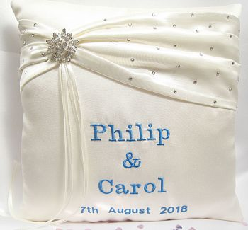 Vintage Style Button Personalised  Wedding Ring Cushion  ANY COLOUR