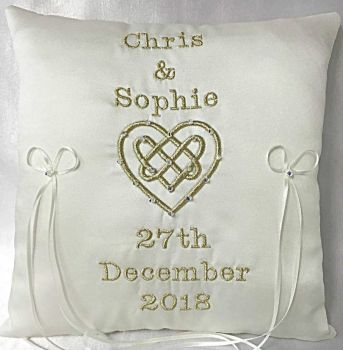 Celtic Love Knot Wedding Ring Cushion Handmade To Order