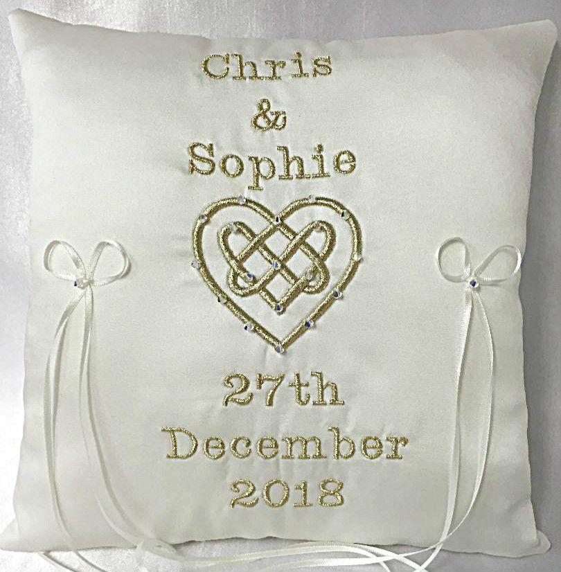 Celtic Love Knot Wedding Ring Cushion Handmade To Order