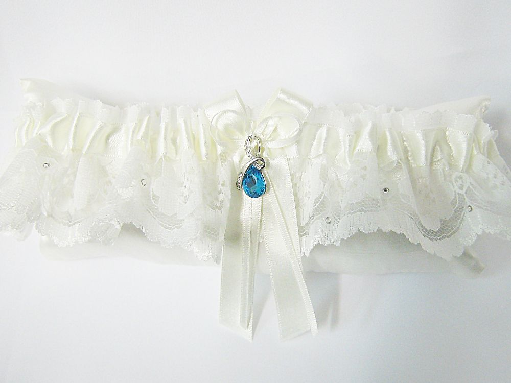 Ava Lace Wedding Garter Blue Crystal £24.99