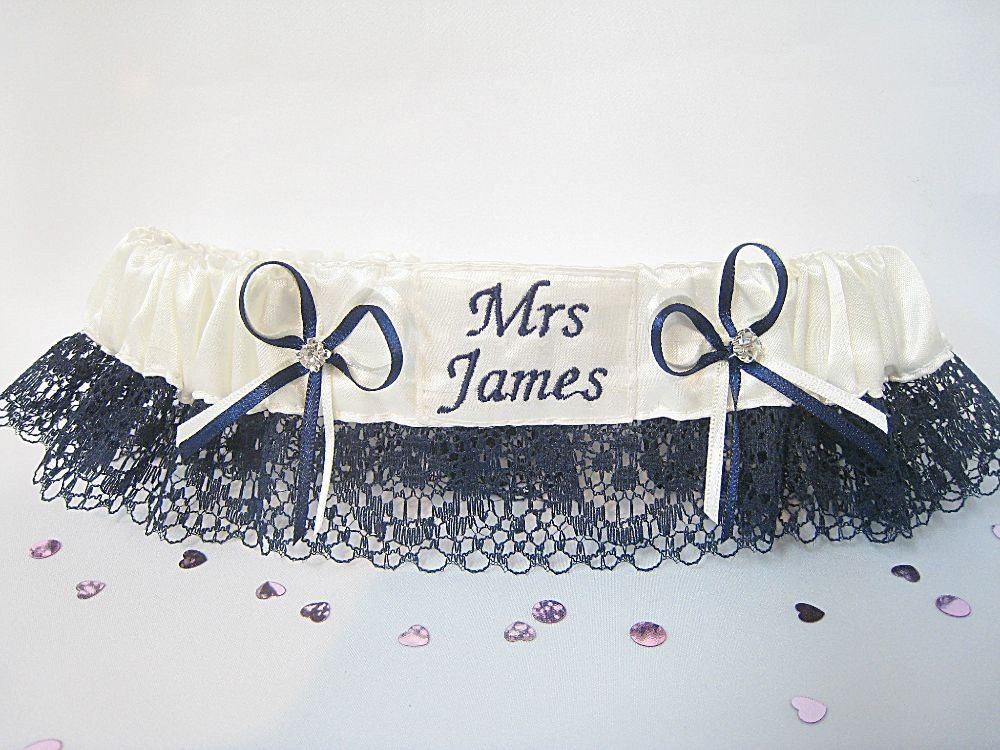 Megan Navy Lace Garter £24.99