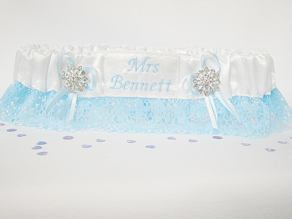 Megan Blue Personalised Garter £24.99
