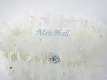 Zara Personalised Wedding Garter Luxury Lace Crystals & Blue Pearls