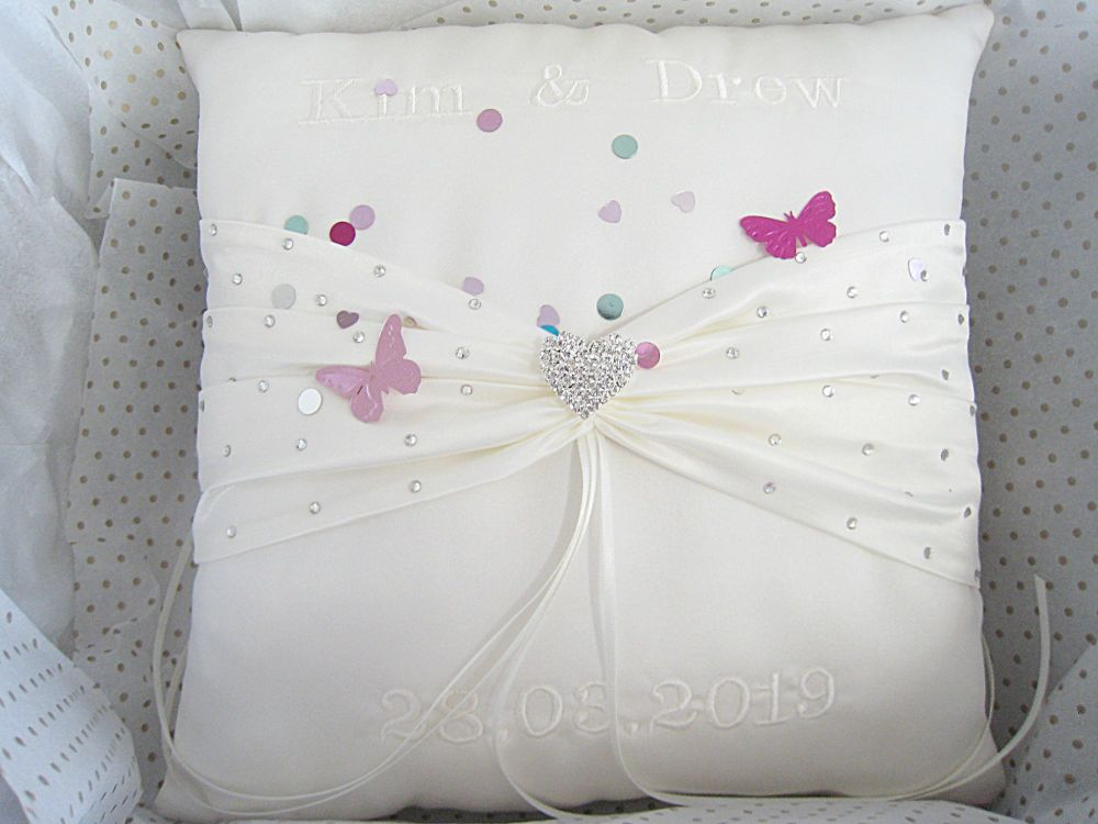 Personalised Ring Cushion Choose Your Colours, Ring Cushions UK