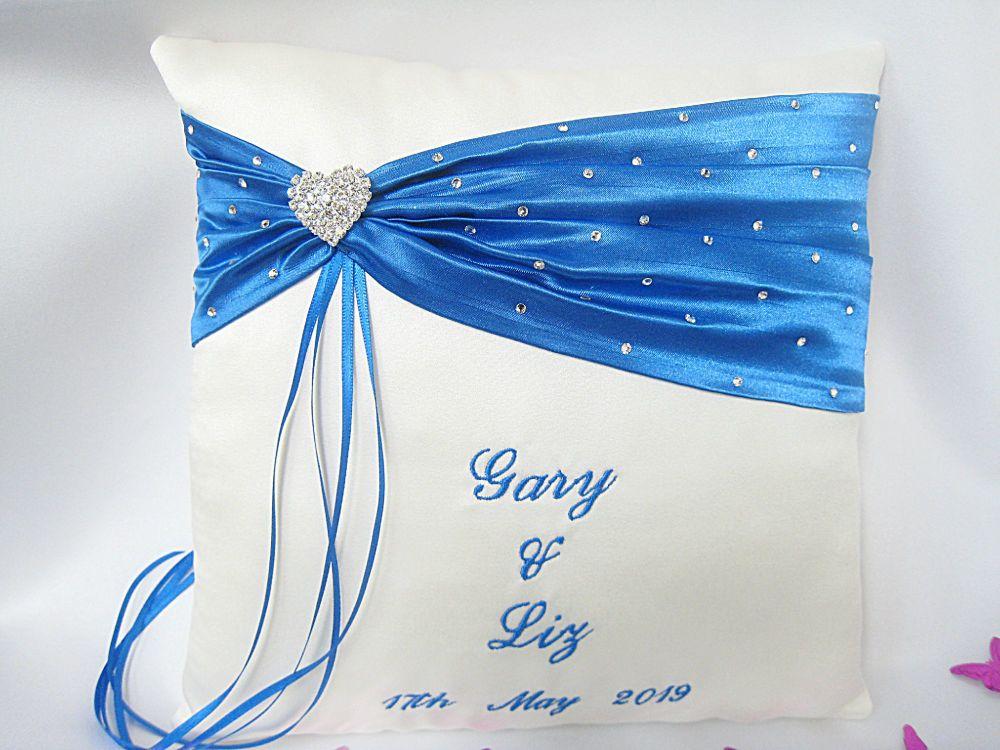 Wedding Ring Cushion Personalised Script Writing CHOOSE Colours