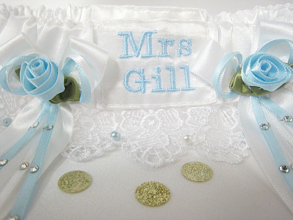 'Lexi' Pale Blue Personalised Garter £39.99