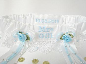 'Lexi' Luxury Personalised Wedding Garter Custom Made To Order