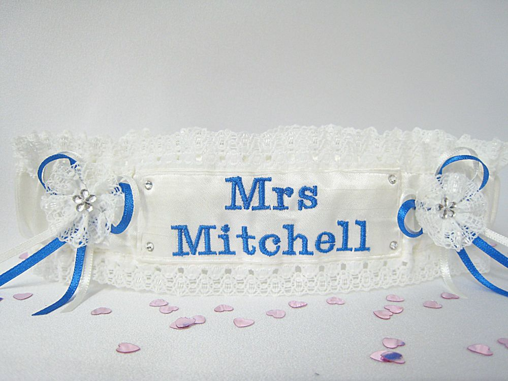 Blue Personalised Wedding Garter