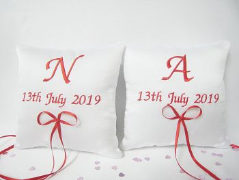 Pair Of Personalised Wedding Ring Cushions Choose Any Colour
