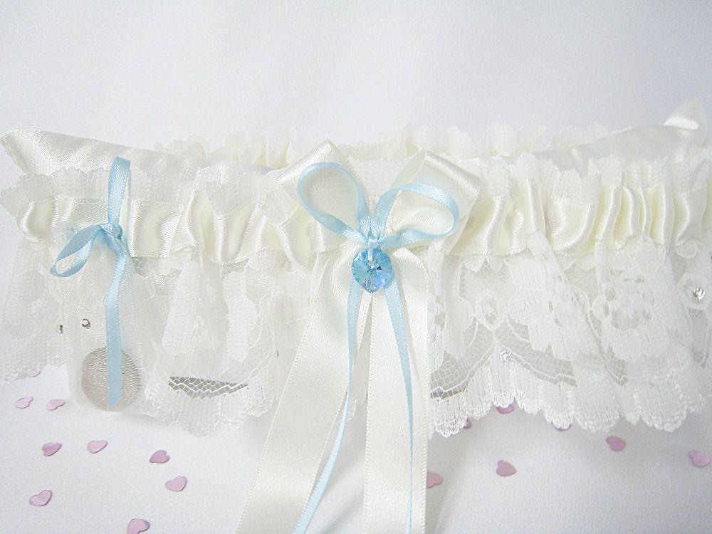 ROXY Ivory Or White Lace Wedding Garter, Ivory Bridal Garters