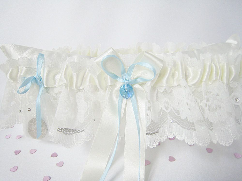 Lace Wedding Garter With A Sixpence Coin Bag