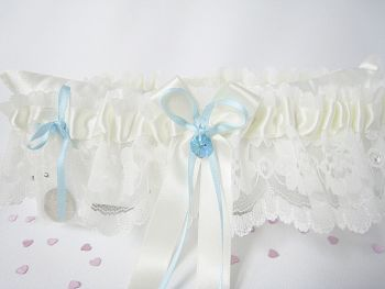 Roxy Luxury Wedding Garter, Blue Sixpence Custom Made Garter
