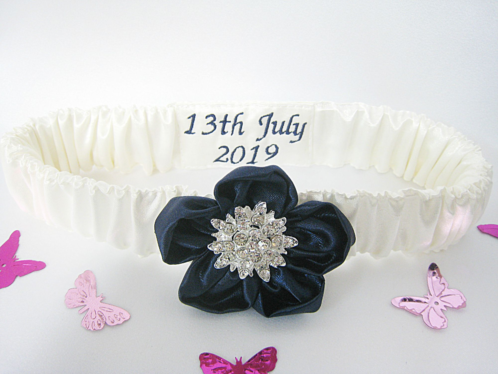 Personalised Wedding Garter With Satin Flower & Diamante Embellishment