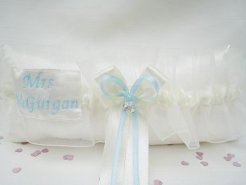'CRYSTAL' Personalised Garter, Blue Garter With Sixpence Pocket