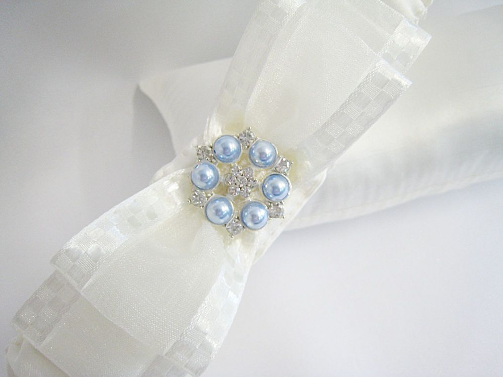 Personalised Garters, Blue Pearls, Stitching And Organza Bows