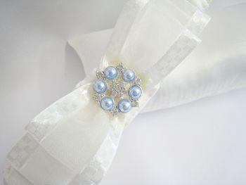 'Nadine' Blue Pearl Wedding Garter, Personalised Garter For Brides