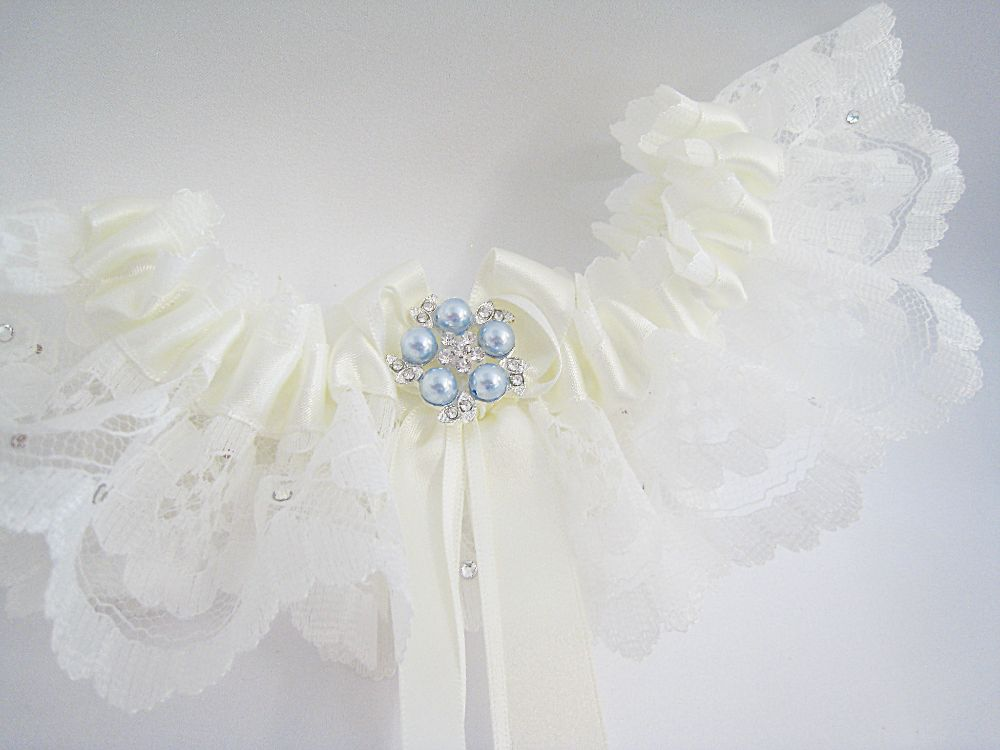 ' Coco' White Or Ivory Blue Garter £26.99