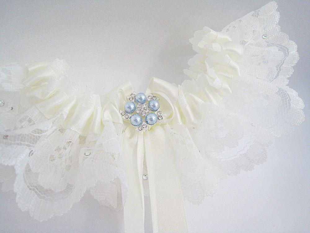 'Coco' Blue Wedding Garter, Ivory White Garters Blue, Wedding Dress Lingeri