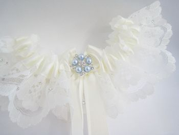 'Coco' Blue Wedding Garter, Ivory White Garters Blue, Wedding Dress Lingerie