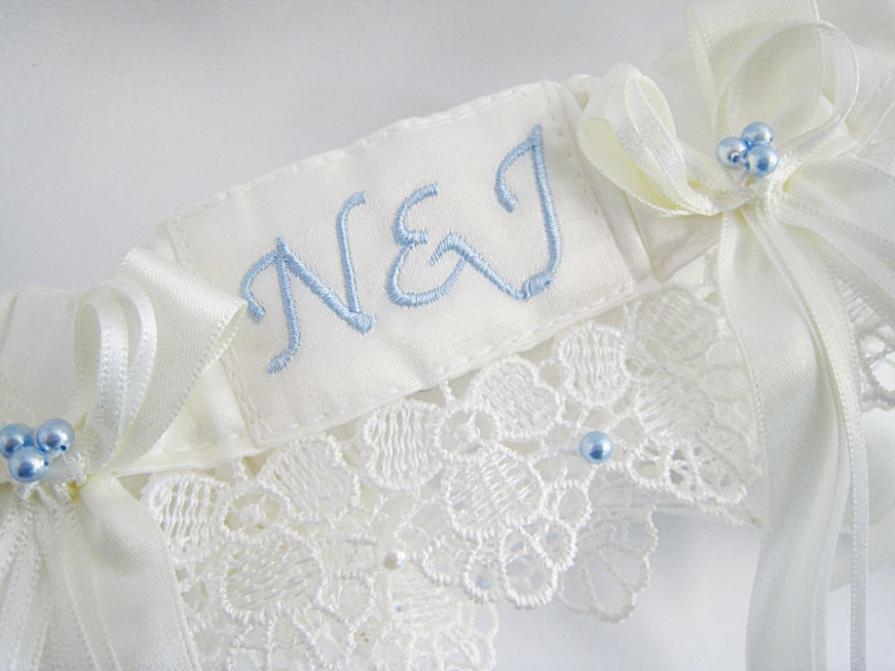 'Amy' Guipure Personalised Wedding Garter £40.99