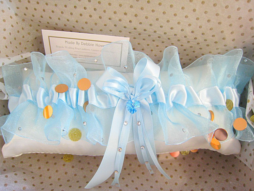 ADI Luxury Blue Organza Sparkle Garter £39.99