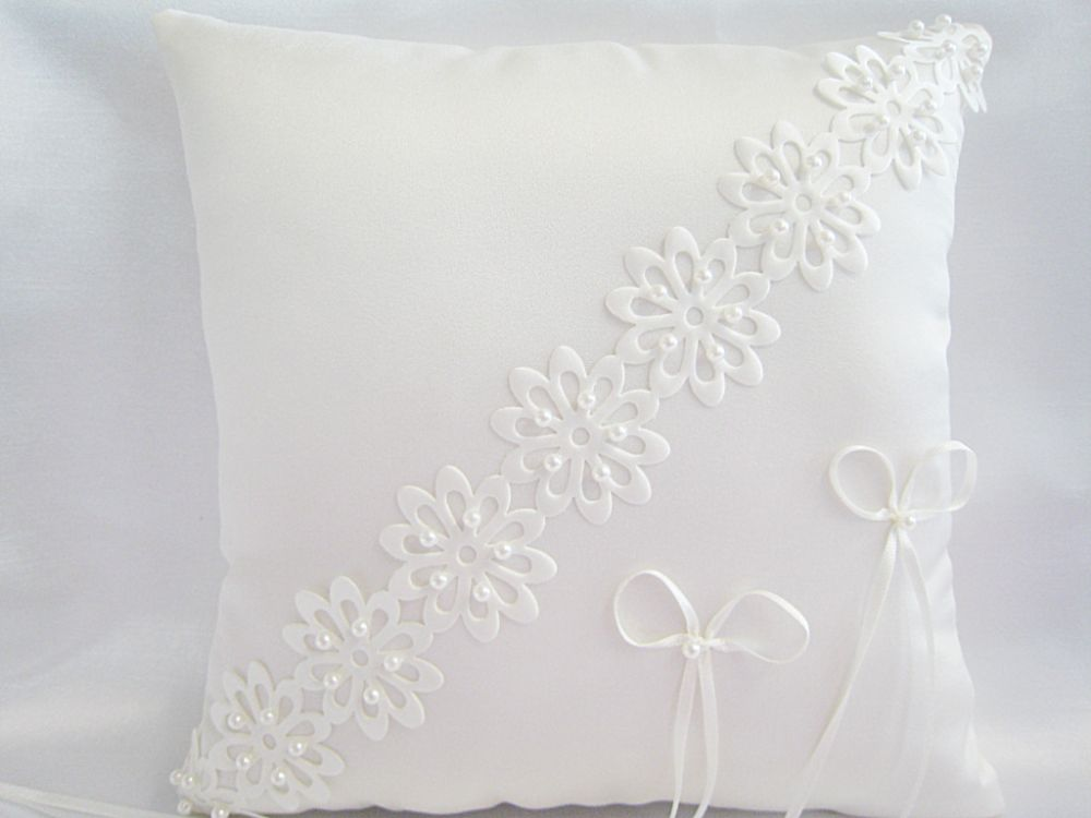 Satin Laser Cut Ring Cushion £29.99