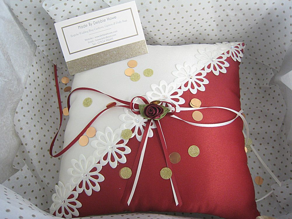 Two Tone Wedding Ring Cushion Custom Made To Order In Any Colour