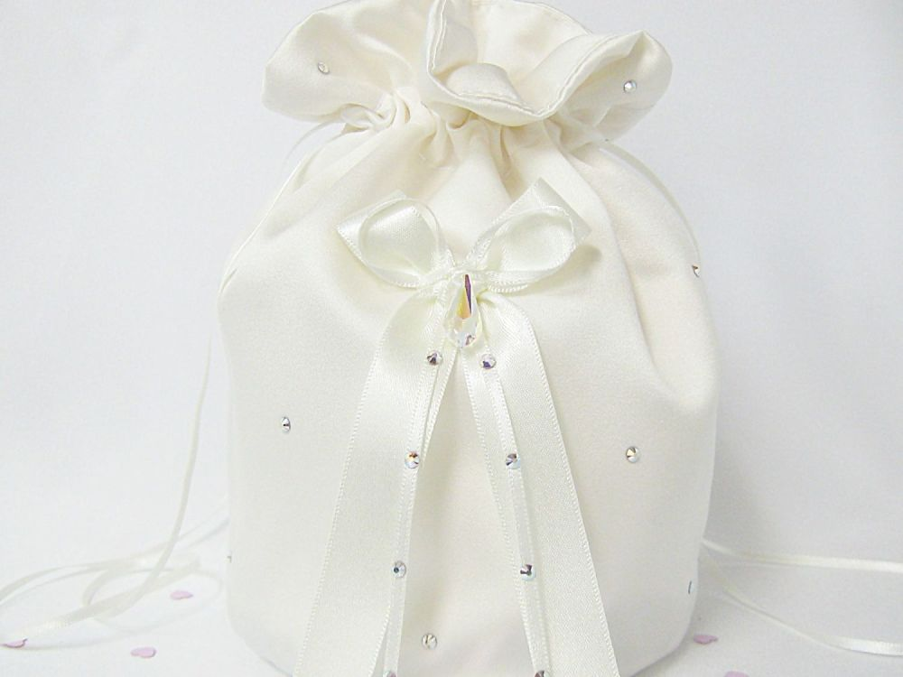 A Wedding Dolly Bag Made From Satin Fabric With Swarovski Crystals.