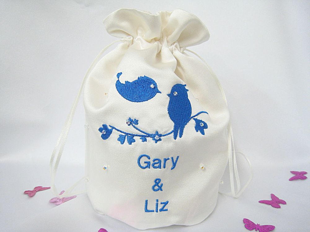 Love Birds Dolly Bags For Brides Choose Colour Of Satin & Embroidery