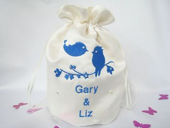 Love Birds Dolly Bag, Satin Wedding Dolly Bags Bride Or Bridesmaid