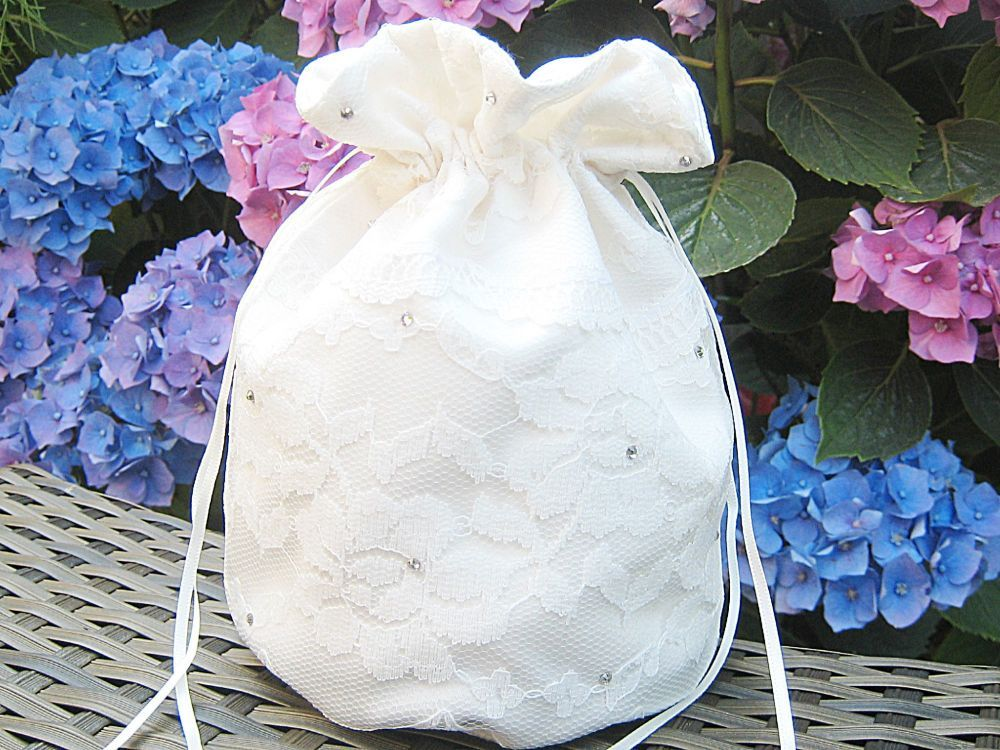Satin & Lace Wedding Bags Bridal, Wedding Bags For Brides Or Bridesmaids