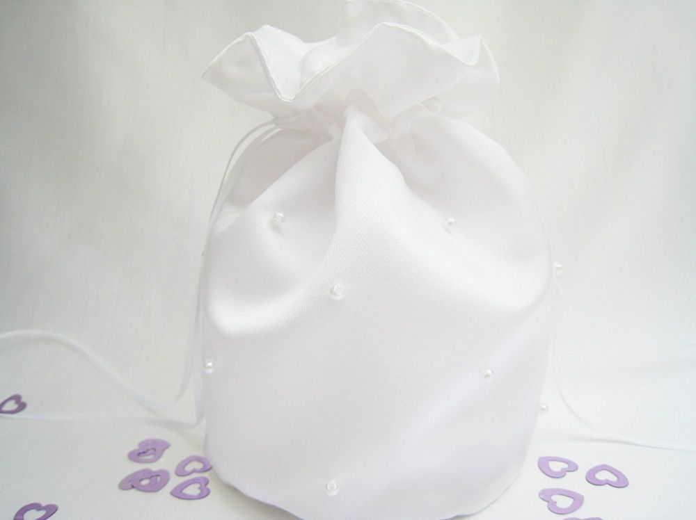 Duchess Satin Dolly Bags With Pearl Beads Made To Order