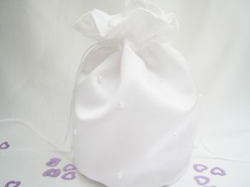 Pearl Dolly Bag, Duchess Satin Bridal Bag Made In UK