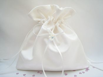 Wedding Pouch Bag Swarovski Heart, Drawstring Bridal Bag