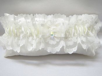 Custom Made Lace Wedding Garter With Swarovski Crystal Teardrop