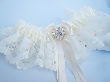'Lucinda' Luxury Blush Pink Wedding Garter, Bridal Lingerie Gift