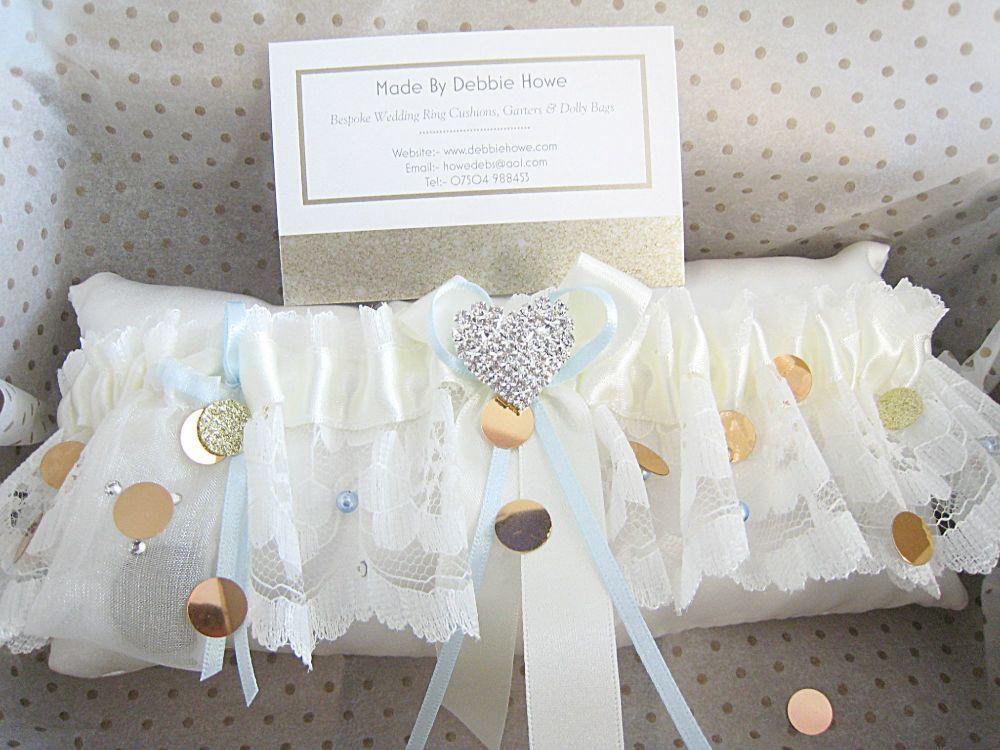 'Emi' Custom Made Bridal Garter, Swarovski Crystal & Blue Pearl Garters