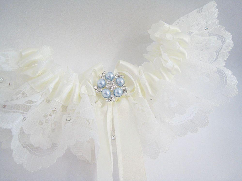 'Coco' Crystal & Pearl Something Blue Garter, Luxury Wedding Garters UK