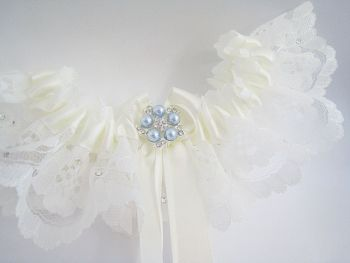 'Coco' Crystal & Pearl Something Blue Garter, Luxury Wedding Garters UK