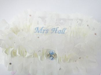 'Zara' Personalised Wedding Garter UK, Blue Pearls Hand Stitched