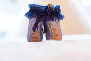 'Adi' Luxury Navy Wedding Garter With Swarovski Crystal Heart