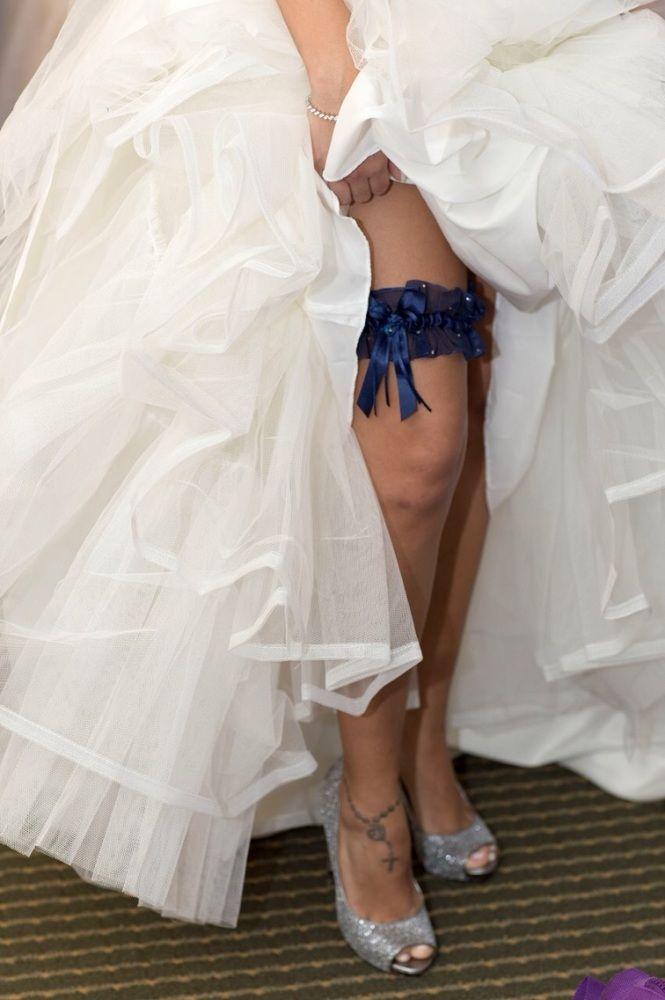 'Adi' Luxury Navy Wedding Garter With Swarovski Crystal Heart