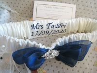 'Bliss' Navy Satin Garter With Embroidery & A Sixpence Coin