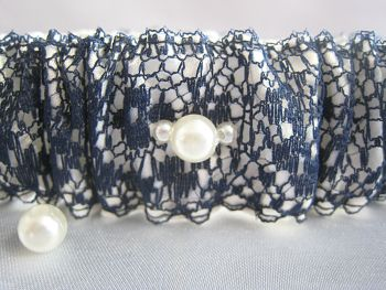 'Anne' Navy Lace Overlay Wedding Garter, Can Also Be Personalised