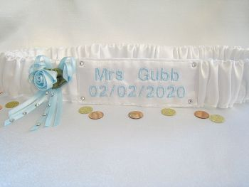 Pale Blue Personalised Wedding Garter With Swarovski Crystals
