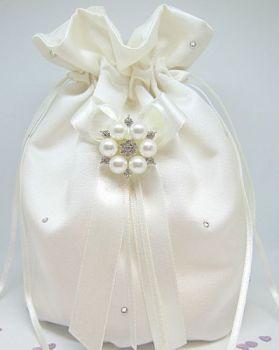 Quick Despatch Ivory Pearl & Diamante Wedding Dolly Bag