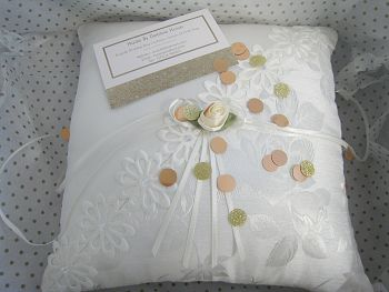 Quick Despatch  All Ivory Two Tone Wedding Ring Cushion £24.99
