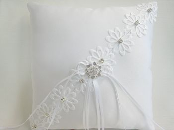 Quick Despatch  All White Wedding Ring Cushion £26.99