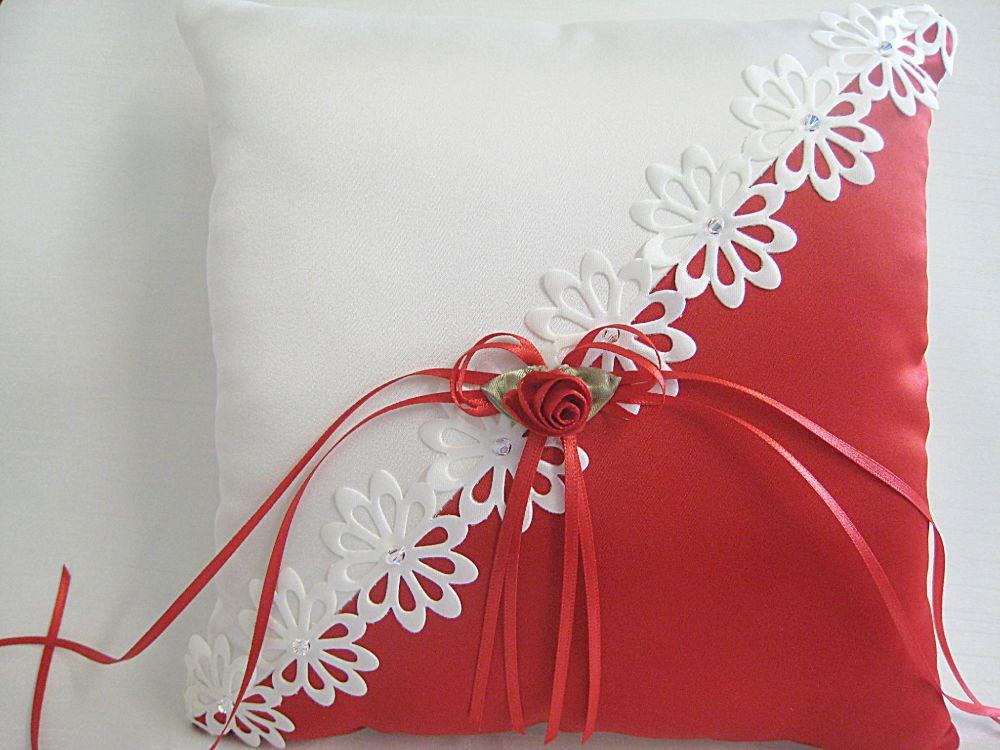 Red & Ivory Wedding Ring Cushion, Bespoke Ring Bearer Pillow UK
