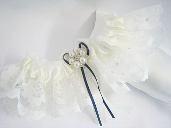 Bailey Ivory Or White With Navy Ribbon Wedding Garter